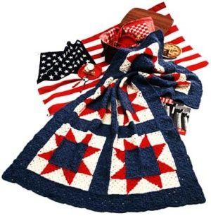 patriotic throw - crochet - lion brand