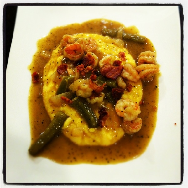 Shrimp with Roasted Tomatillo Gravy and Jalapeno Cheese Grits