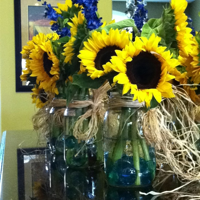 Sunflowers in mason jars weddings pinterest