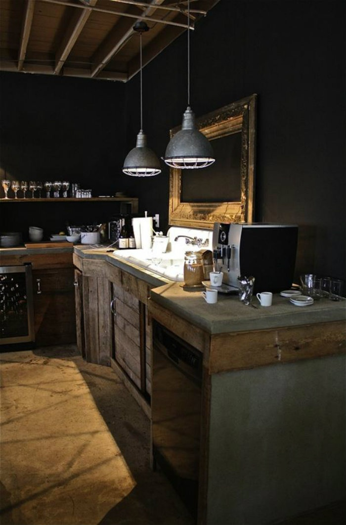 Industrial lamps in a rustic kitchen kitchen pinterest for Dark walls in kitchen