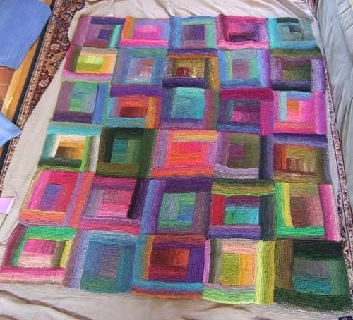 log cabin knitted blanket Knitting Pinterest