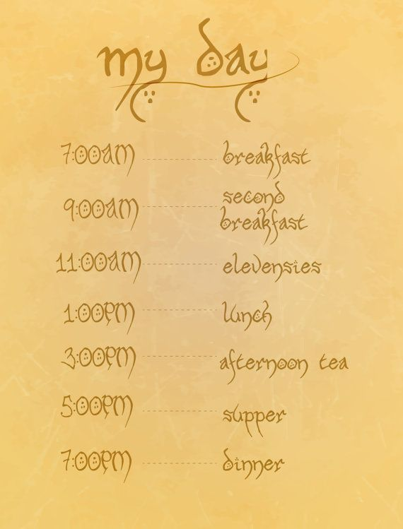 hobbit eating schedule.. funny lord of the rings digital download on Etsy, $3.50