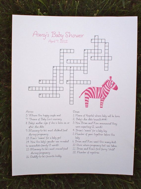 baby shower crossword puzzle baby shower pinterest