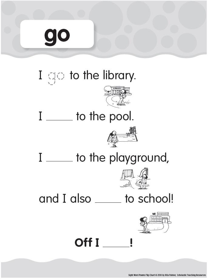 ... -primer Sight Words: go Printable | Preschool - Sight Words | Pint