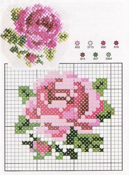 Вышивка крестом роза простая схема 47