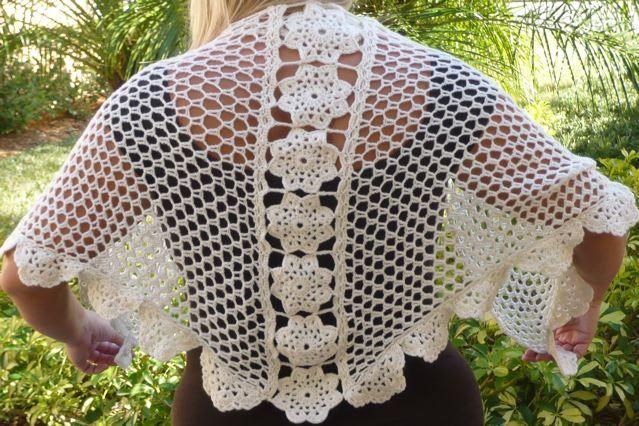 Crochet Floral Shawl Pattern : Crochet Flower Shawl Crochet - adult Pinterest