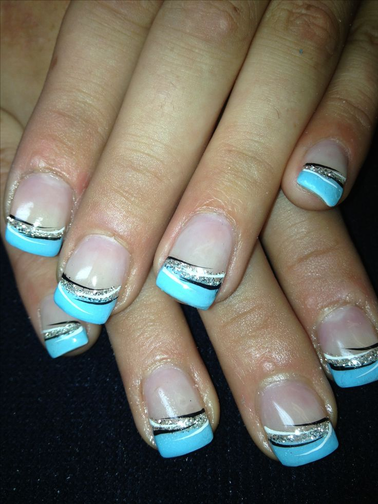 i want these but tips silver and the silver teal nails i like pinterest