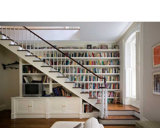 Built in bookcase staircase hearth home pinterest - Staircases with integrated bookshelves ...
