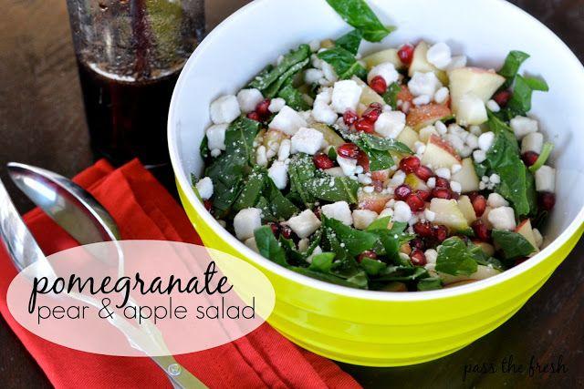Pomegranate Pear & Apple Salad- festive holiday salad that is ...