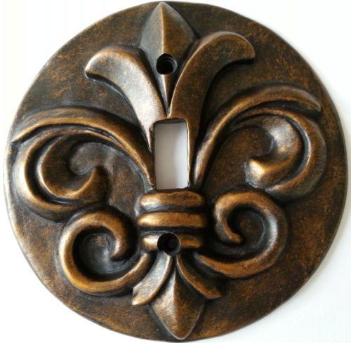 Light Switch Plate Bronze Fleur De Lis Decor Singletoggle