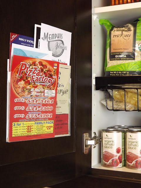 Mount plastic pocket to inside of cabinet door to hold menus, etc.