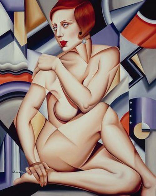Catherine Abel - Cubist Nude Orange and Purple