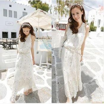 2014 Women's Clothes Fashion White Lace Print Spaghetti Strap Bohemia