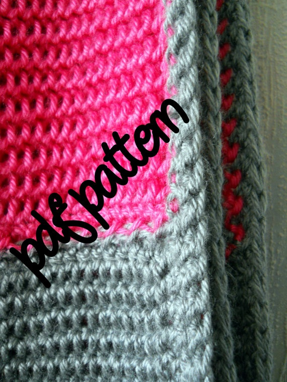 PDF Crochet Pattern - Intermediate Level - Hot Pink and Heather Grey ...