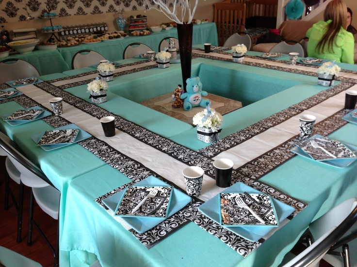 damask baby shower table set up baby shower planning