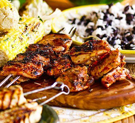 ... barbecued chicken with a piri-piri, paprika and coriander marinade