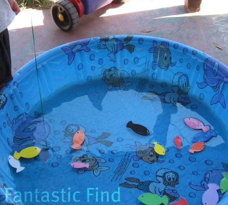 Kiddie pool fishing backyard carnival pinterest for Fish fishing games