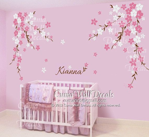 Nursery wall decal baby girl and name wall decals flowers cherry blossom wall sticker wedding - Wall decor girl nursery ...