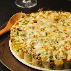 Vertical Stuffed Pasta with Peas, Zucchini, and Taleggio sauce