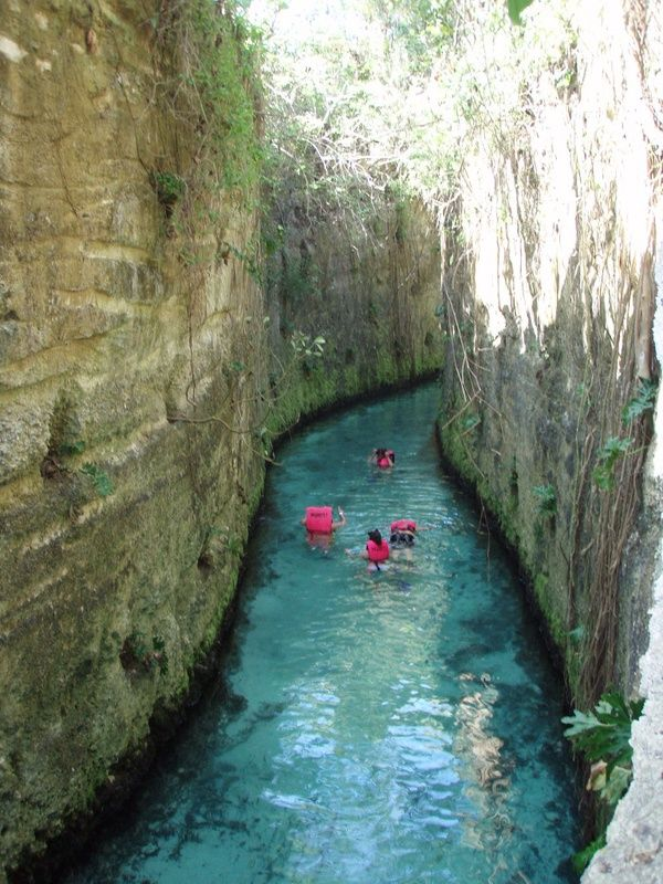 Cancun. Xcarets underground rivers are part of a large cave system that forms deep under the surface of the Yucatan peninsula