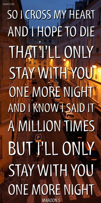 "MAROON 5 ""ONE MORE NIGHT"" OVEREXPOSED | MUSIC LYRICS ..."
