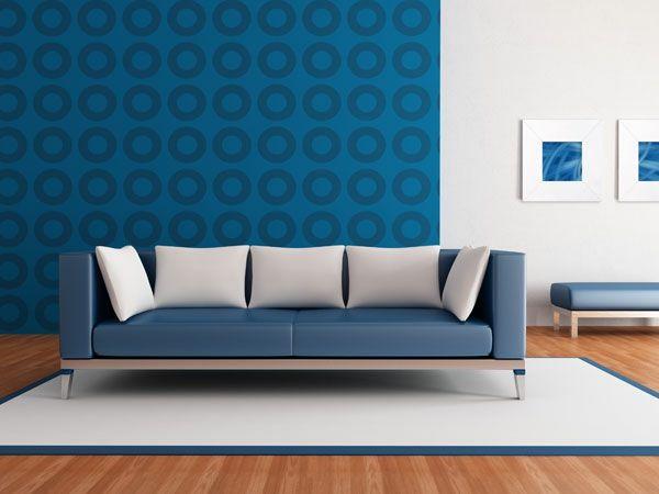 retro-tapete-kreise-wohnzimmer-blau Home decor Pinterest