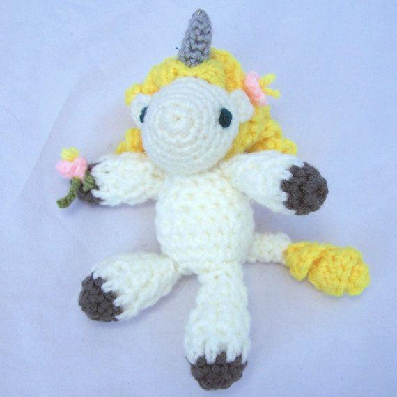 Crochet Unicorn Hair : Tiny unicorn amigurumi plush toy crochet with freeform yellow hair