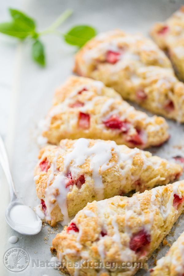 These strawberry scones are perfect! Soft, crumbly and studded with ...