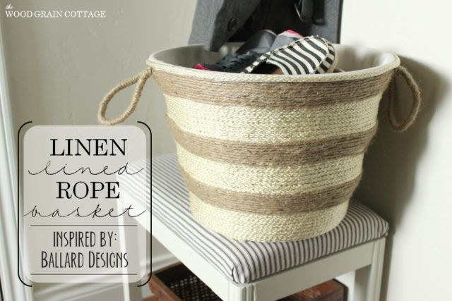 Linen Lined Rope Basket