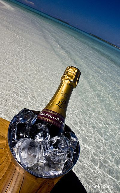 Champagne on the beach (Noonu Atoll, Maldives) by Saki Ono, via Flickr