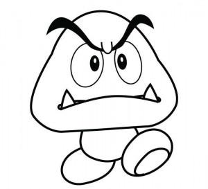 Mario Coloring Pages Goomba Mushroom