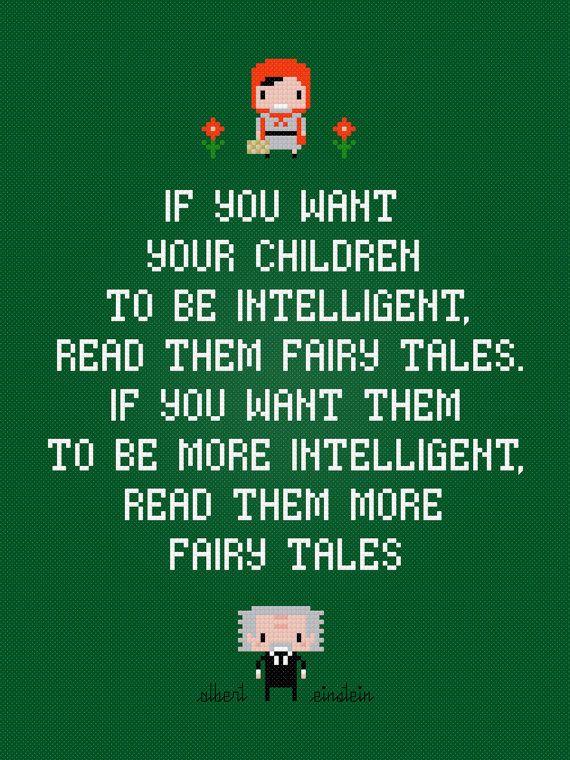 Albert Einstein quote: Fairy tales cross stitch pattern