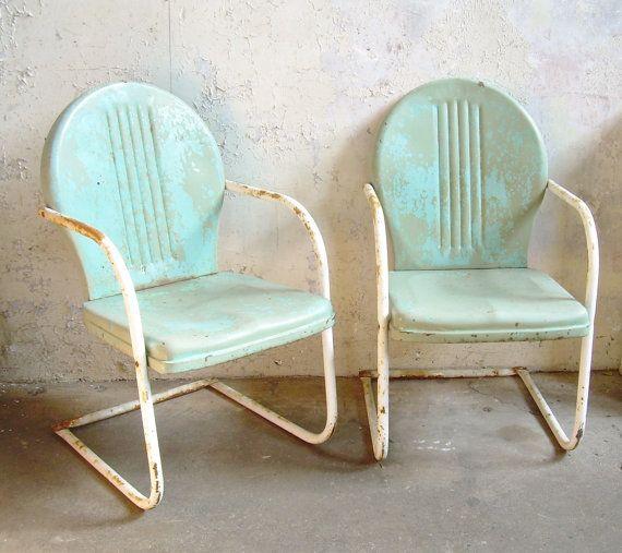 Retro Metal Lawn Chairs Pair Rustic Vintage Porch Furniture