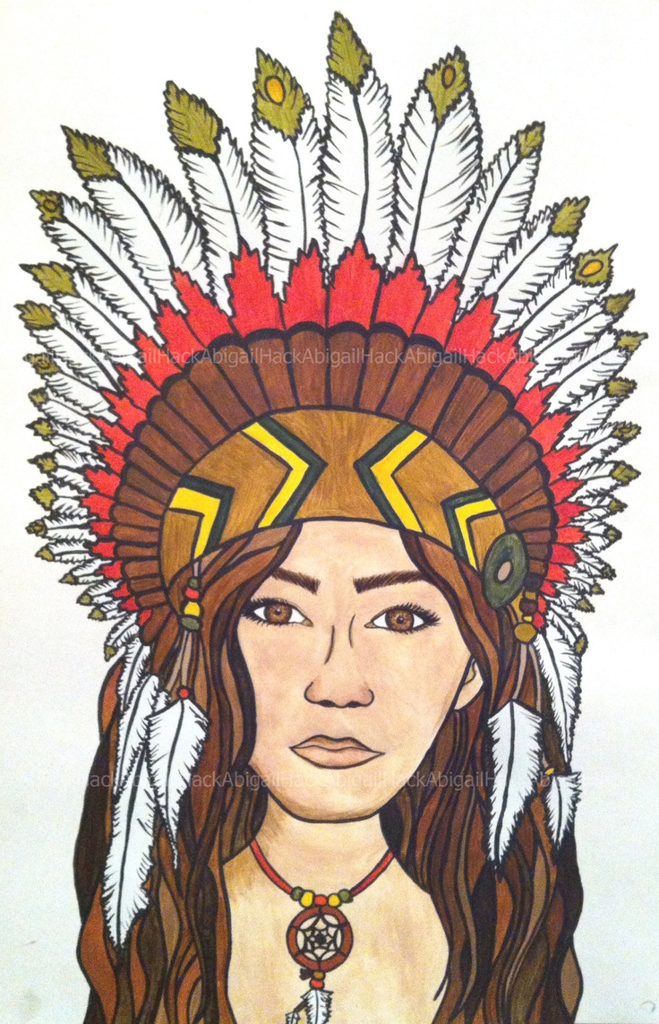 Gallery For > Native American Girl Headdress Drawing