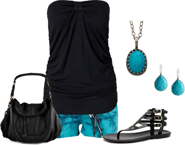 """Black Tube Top with Turquoise"" by mmessenger on Polyvore"