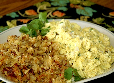 ... Scrambled Eggs with Cilantro, Onion and Southwest Style Hash Browns
