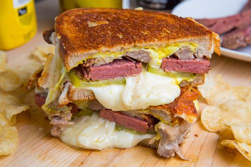 St Patrick's Day Corned Beef Cuban Grilled Cheese Sandwich | Recipe