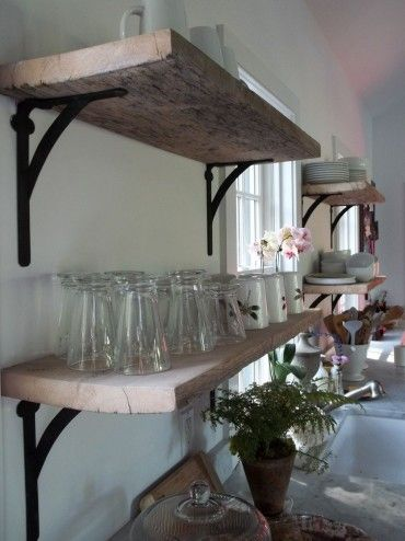 rustic open shelves in the kitchen ~ got all the stuff ... just need the wall!