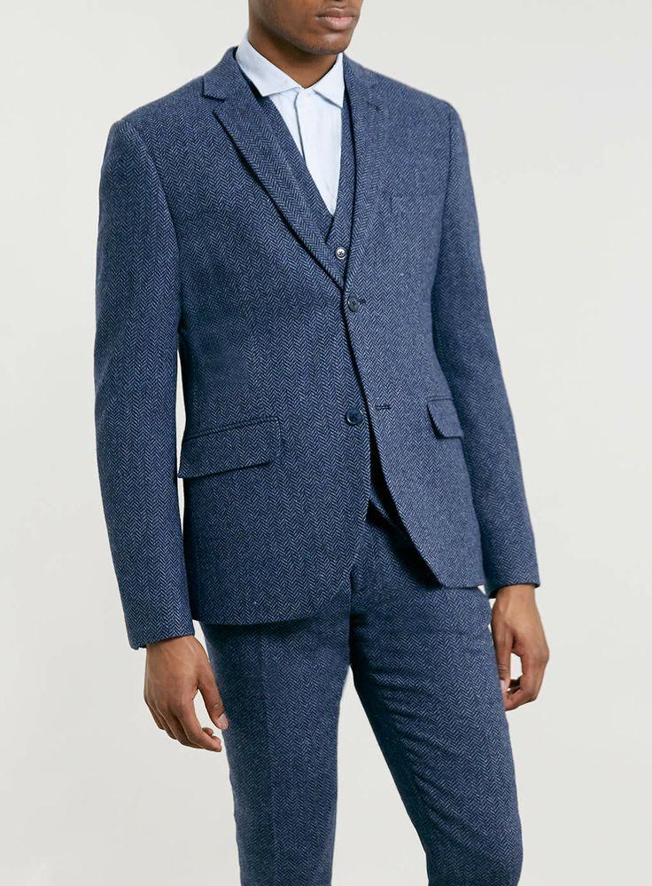 Premium blue herringbone three piece suit skinny fit suits suits