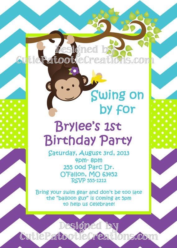 Monkey Birthday Invitations Pinterest  Party Invitations Ideas