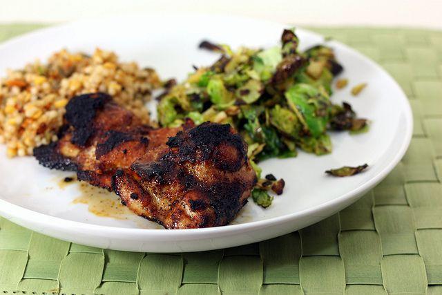 spicy honey brushed chicken thighs | mmmm cHicKeN rEcIpEs | Pinterest
