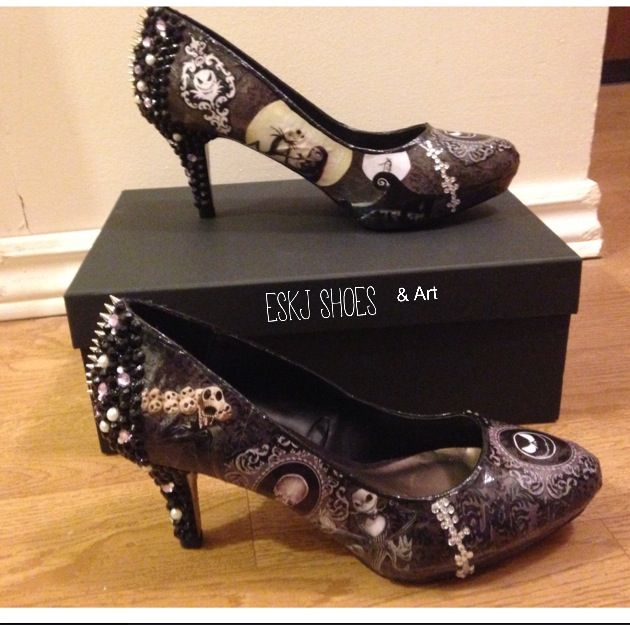 ESKJ SHOES & Art on Facebook. Nightmare before Christmas heels