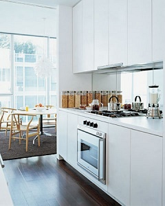 mirrored backsplash and white cabinets in the kitchen
