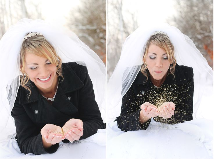 winter wedding // bride and glitter