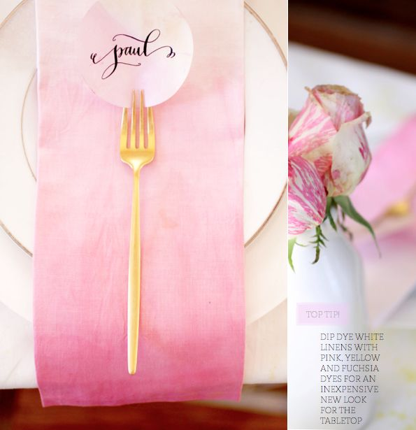 Spring Brunch tablescape with ombre yellow and pink colour palette via brightbazaar.blog...