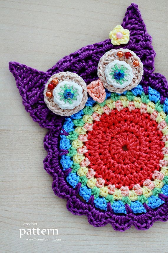 Crochet Pattern - Crochet Owl Coasters, Appliques - (Pattern No. 058 ...