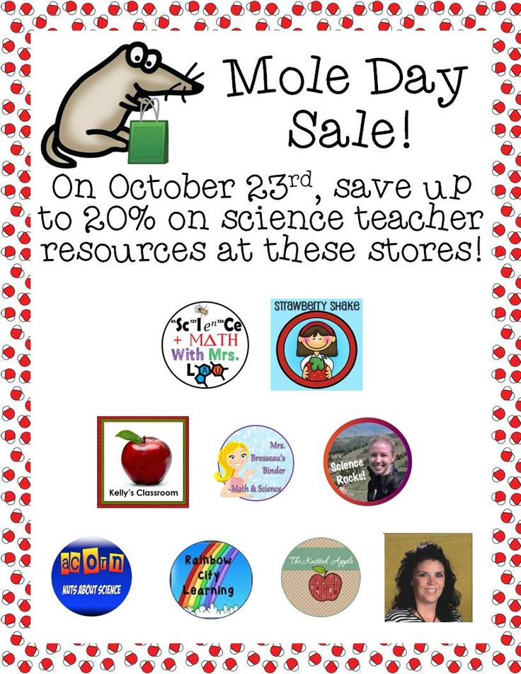 Mole Day Sale on TeachersPayTeachers!  Check out these stores who are working together to make your mole day a great one!