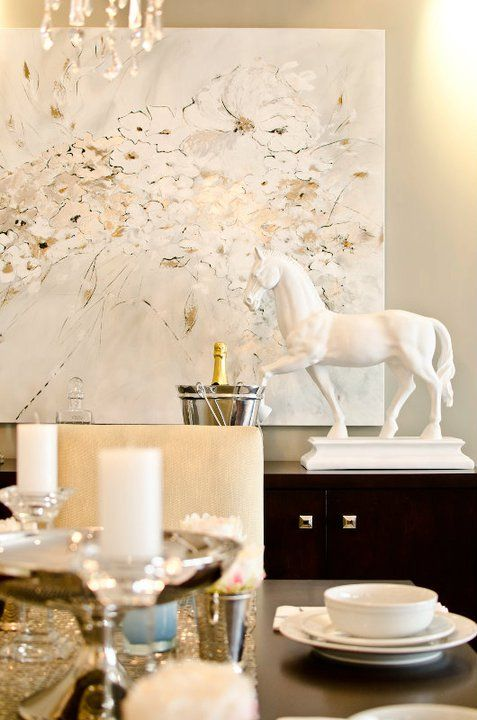 Suzie: Twenty One Two - Glam dining room with gray walls paint color,  glossy white horse ...