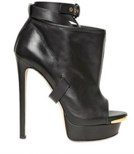 Black DSQUARED2 Leather Boot at ShoeSaleToday.com