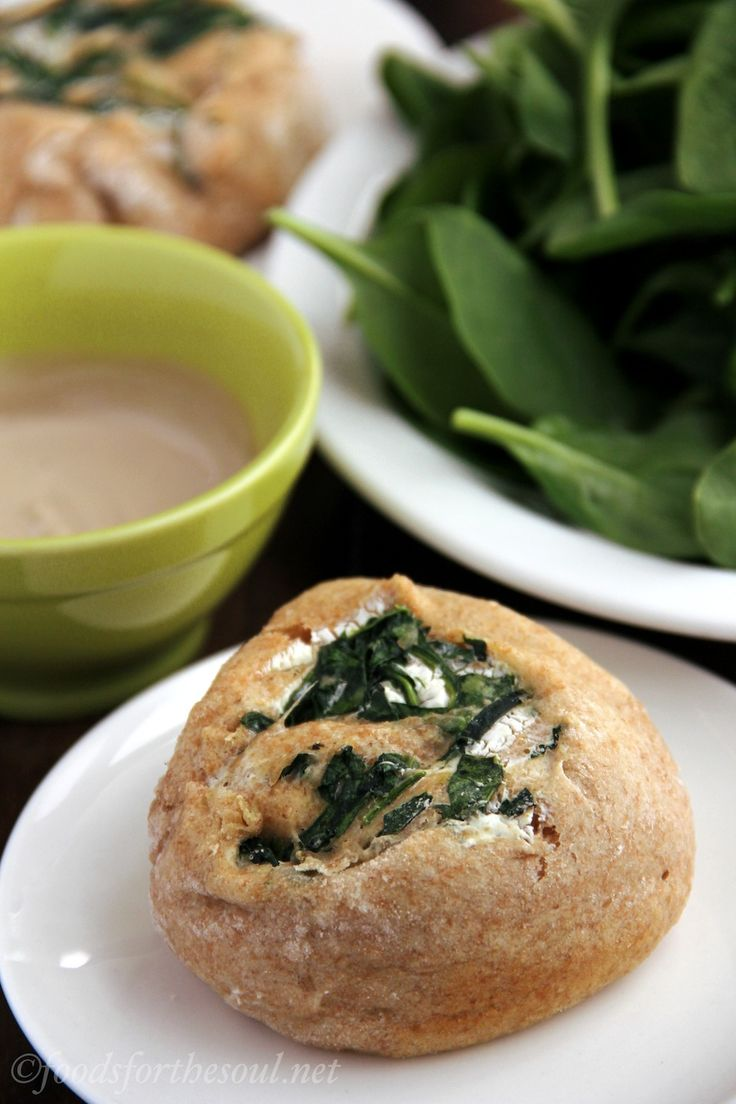 "Savory whole wheat ""cinnamon"" rolls, made with spinach and cream ..."